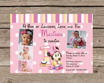 Printable Minnie Mouse First Birthday Invitation - 1st Birthday