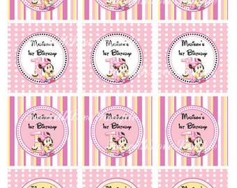 Printable Minnie Mouse First (1st) Birthday Party Circles - Cupcake Topper