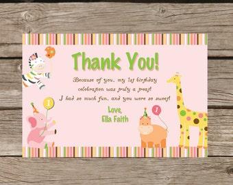 Sweet Safari First Birthday Thank you Card - Printable