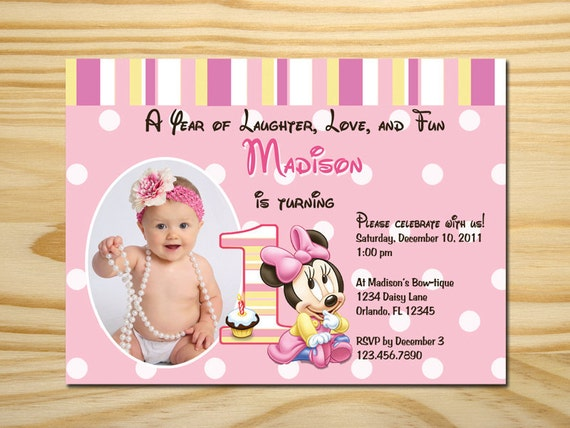 Printable Minnie Mouse First Birthday Invitation