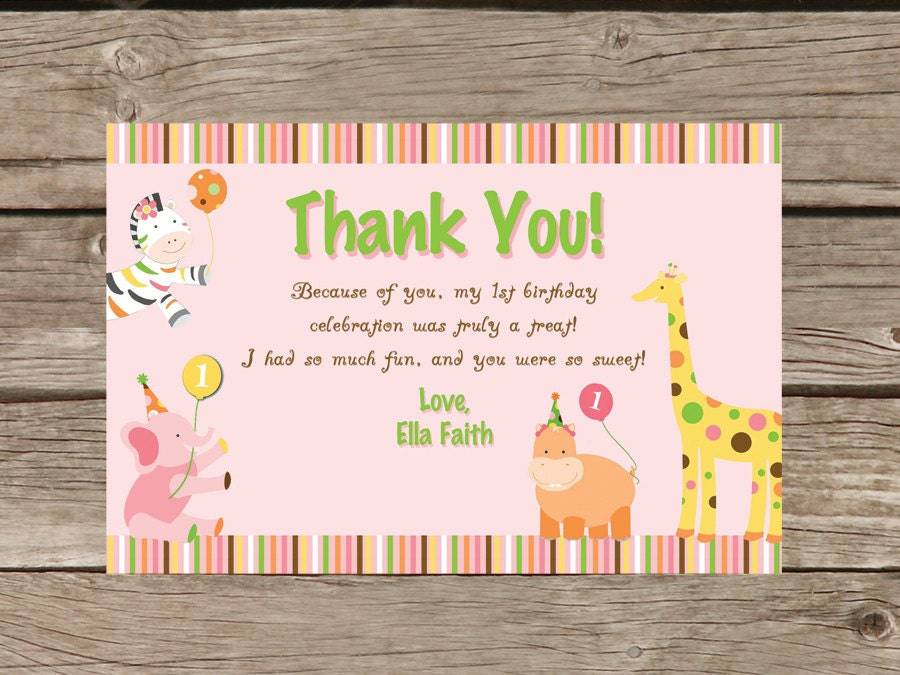 Sweet Safari First Birthday Thank you Card Printable – First Birthday Thank You Cards