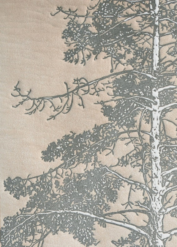 LAST ONE - Arboreal No. I (State II) Original Linocut Relief Print 18x24 Slate Gray and Sepia-toned Redwood Tree