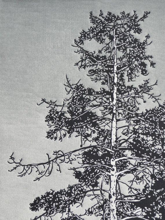 Arboreal No. I (State III) Linocut Print 18x24 Slate Gray and Charcoal Redwood Tree