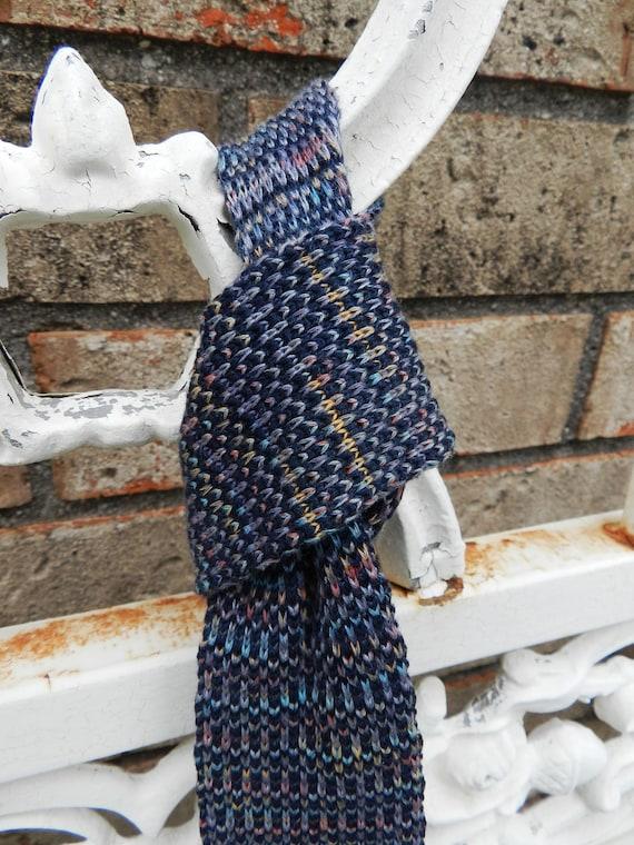 Mens Knit Tie, 1950s Style, Square Skinny Blue Necktie, Boston Athelic Club, Mad Men Style