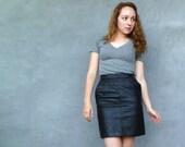 Vintage 1980s Black Leather Pencil Skirt Size XS