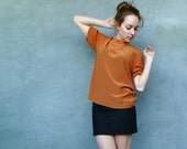 Vintage Copper Silk Shirt, Short Sleeves Size M L