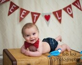 Valentine Burlap Banner Photography Prop / Sweet Love