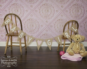 Baby Girl Burlap Banner / Maternity Photography Prop / Baby Shower Decoration