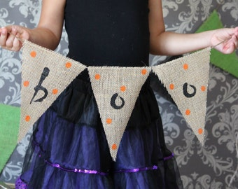Primitive BOO Burlap Banner Halloween Decoration / Halloween Photography Prop
