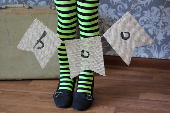 Halloween BOO Burlap Banner, Primitive Halloween Banner, Holiday Decoration, Mantel Decoration, Halloween Garland, Halloween Photo Prop