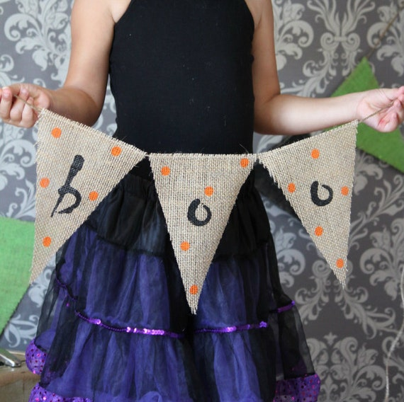 Primitive BOO Burlap Banner Halloween Decoration / Halloween Photography Prop