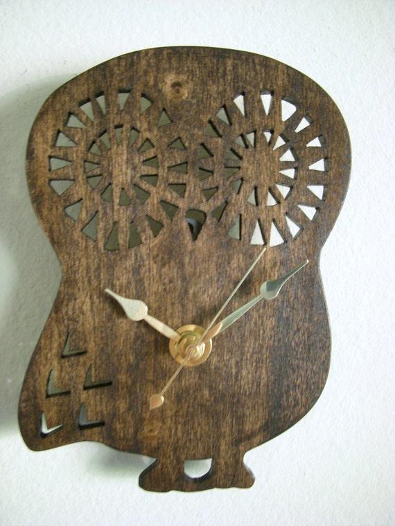 Owl Clock - Wall Clock - Handmade Owl Clock - Dark Wood Finish