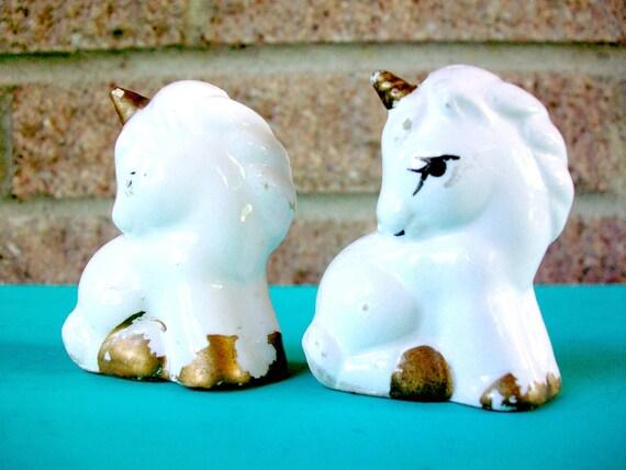 Small Unicorn Salt and Pepper Shakers Mini Miniture Tiny White Gold Ceramic