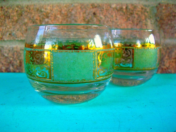 Mid Century Green Gold Roly Poly Tumbler Glass Pair Barware Glasses Set of 2 Culver