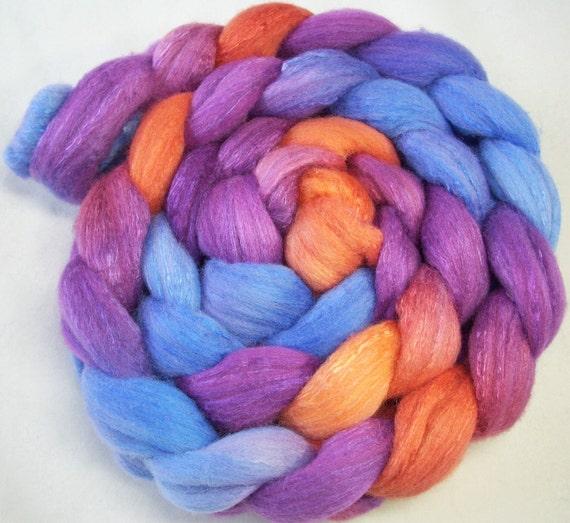 Hand Dyed Spinning Fiber  Merino/Silk Combed Top (Roving) 4 oz