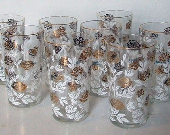 Set of Eight White and Gold Rose Print Glasses