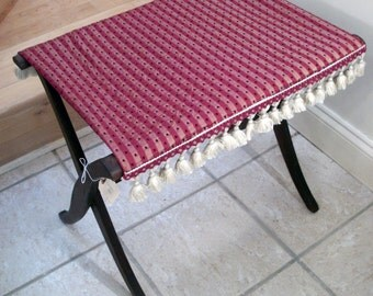 MOVING SALE Beautiful Burgundy Upholstered Vintage Luggage Stand