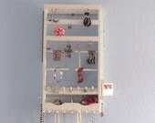 Jewelry Holder - Wall Mounted - Organize Earrings, Necklaces, Bracelets - Ring holder - Mirror - Bins - Earrings, Pegs,  bracelet holders