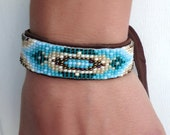 Native American Beaded Bracelet Brown, Turquoise, Blue, Beige, Ivory Leather Jewelry Western