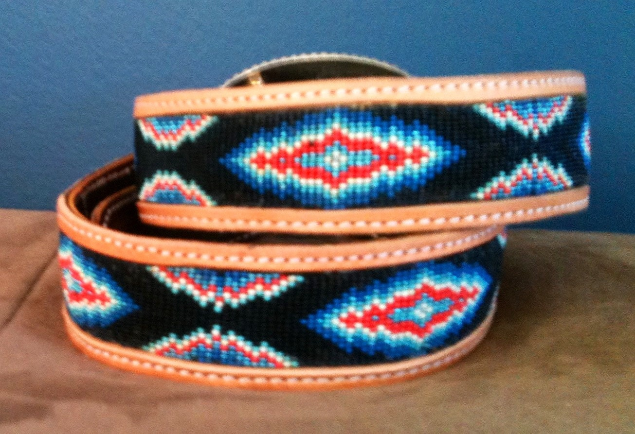 american beaded belt blue and orange size 36