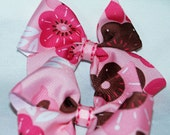 Pink and Brown Flower Pigtail Bows