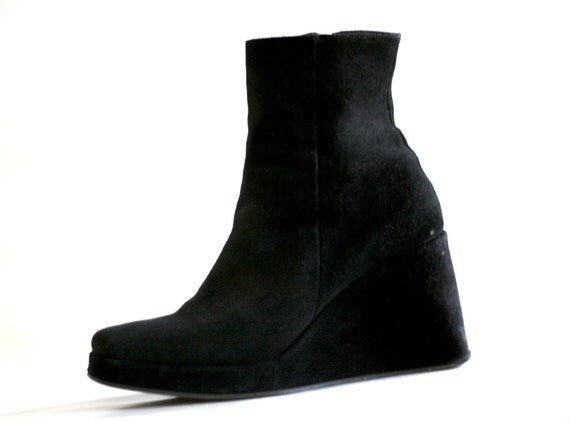 SALE Wedge Suede Ankle Boots (Size 8.5- 9)