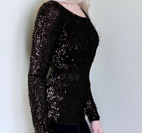 Reserved for Nona SALE 1980's Bronze Sequined Longsleeve