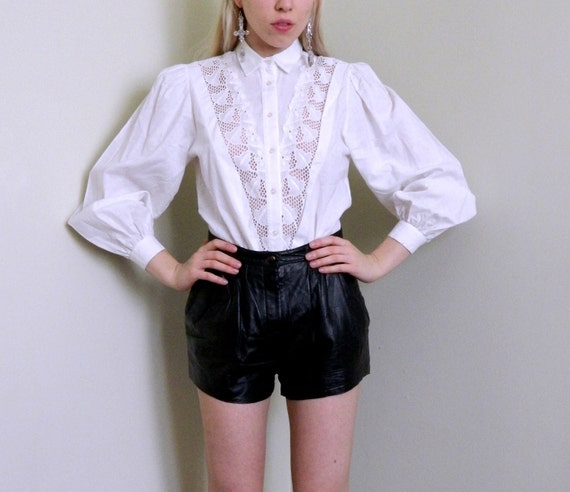 Beautiful Turn-of-the-Century Cotton Blouse with Pointele Lace