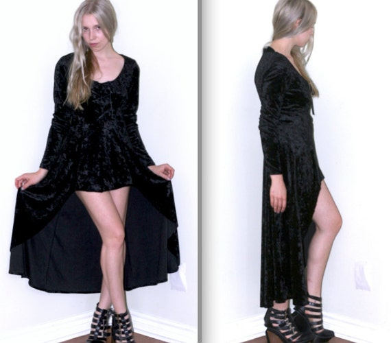 Little Black Witch Dress in Crushed Velvet w/High-Low Hem and Corset Lacing