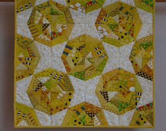 Yellow Webs wall quilt