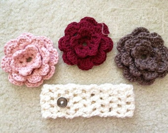 Berry Cute Headband with Button-on Flowers - Any Color - Sizes NB-12M
