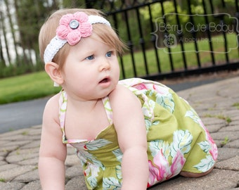 Spring Headband with Button-on Flowers, Many Colors, Toddler