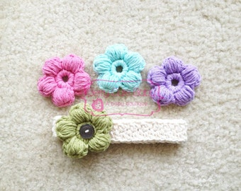 Crochet Headband with Button-on Flowers, Many Colors, NB-12M
