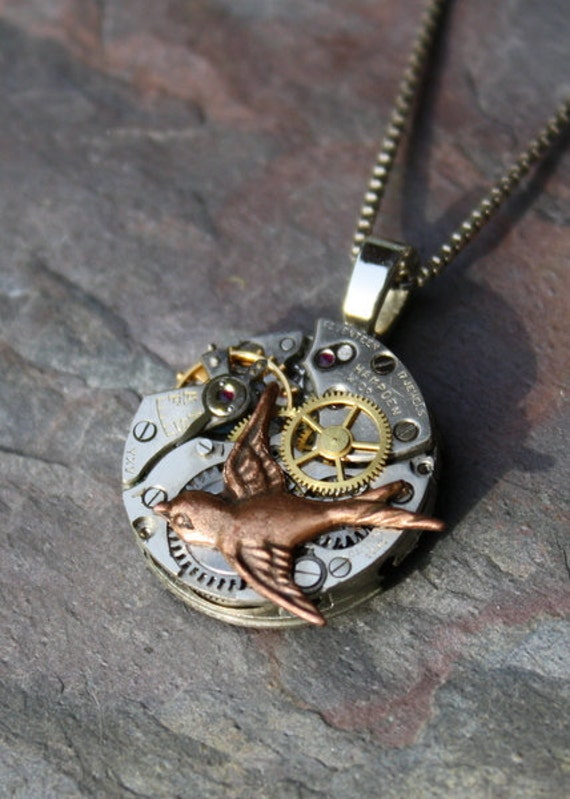 Hunger Games Pendant, Tri Color Watch Movement with Mockingjay Steampunk Necklace