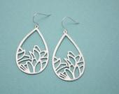 238- Silver abstract mosaic teardrop earrings