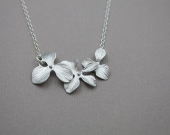 230- Kindness - Sterling Silver three orchids in a row necklace