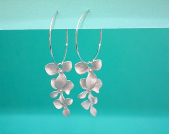 054- Balance- Silver hoops with triple orchid dangle earrings