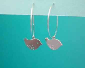 190- Value- Silver hoops with detailed mod bird earrings