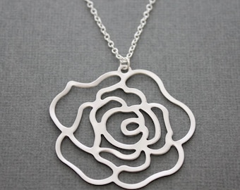 239- Sterling silver necklace with beautiful rose pendant