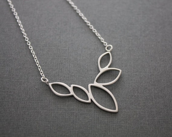 048- Marquise cluster necklace, gift, sterling silver, chic, casual, modern