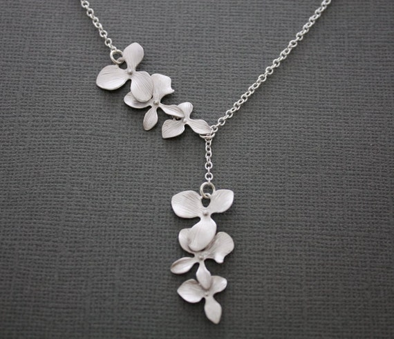 122- Sterling silver cascading triple orchid lariat necklace