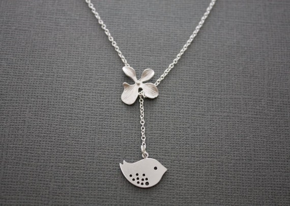 Renewal - necklace, bird and orchid lariat