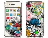 Apple iPhone 4 4S Skin Cover - Wild Flowers GLOSSY MATTE LEATHER option