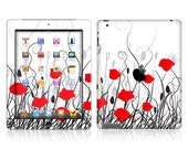 Apple iPad Air 2, iPad Air 1, iPad 2, iPad 3, iPad 4, and iPad Mini Decal Skin Cover - Red Poppy Flowers
