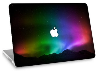 "Apple Macbook Air 11"" 13"" Decal Skin and Apple Macbook Pro 13"" 15"" Decal Skin w/  Apple Cutout - Northern Lights"