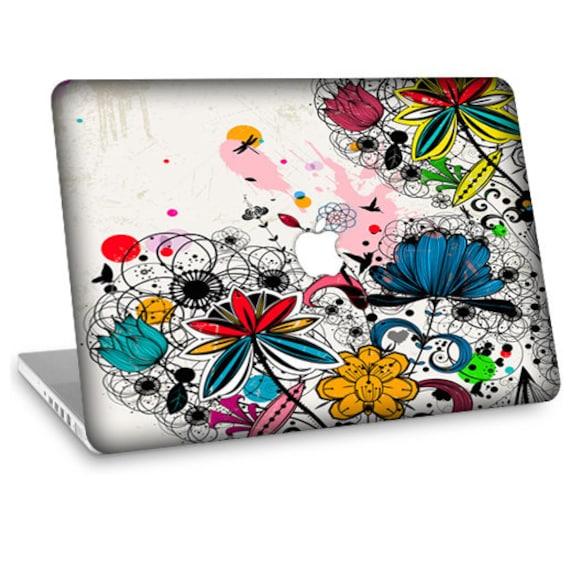 "Apple Macbook Air 11"" 13"" Decal Skin and Apple Macbook Pro 13"" 15"" Decal Skin - Colorful Wild Flowers"