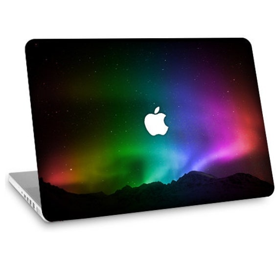 """Apple Macbook Air 11"""" 13"""" Decal Skin and Apple Macbook Pro 13"""" 15"""" Decal Skin w/  Apple Cutout - Northern Lights"""