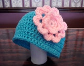 6 to 12 months turquoise teal hat with pink flower crocheted newborn baby beanie hat