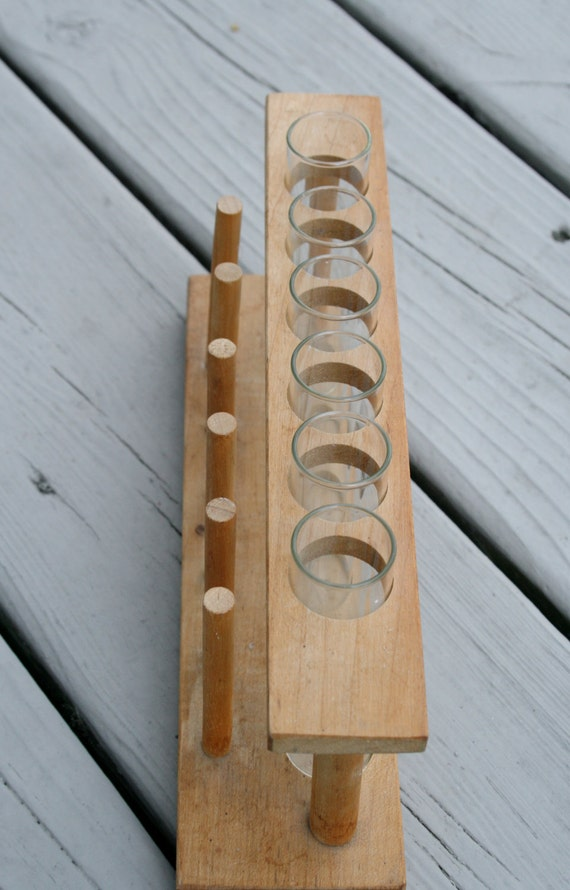 Set of Six Glass Test Tubes Flasks Beakers with Wooden Rack or Holder Vintage