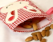 Reusable Snack Pouch: Woodland White Bunny on Red Checkered Pouch